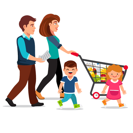 child girl: Family walking with shopping cart full of groceries. Young parents, mother and father with their son and daughter. Flat style vector illustration isolated on white background.