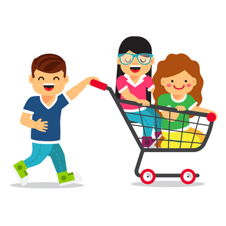 brat: Boy and two girls playing together, riding supermarket shopping cart. Flat style vector illustration isolated on white background.