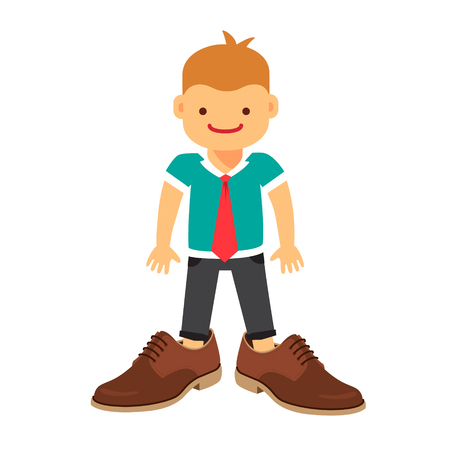 Small boy wearing a tie and fathers shoes pretending hes a businessman. Flat style vector illustration isolated on white background.