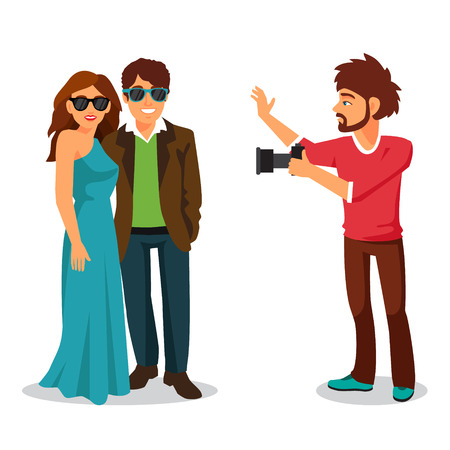 celebrity: Professional photographer takes a photo of a beautiful celebrity couple. Flat style vector illustration isolated on white background. Illustration