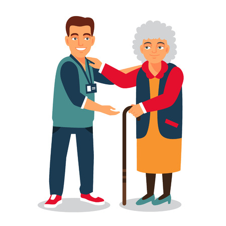 help: Young man with badge helping an old lady. Elder people care and nursing. Flat style vector illustration isolated on white background.