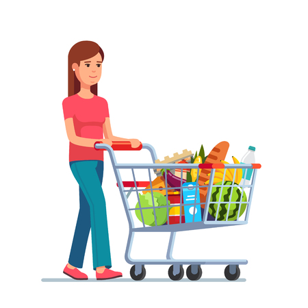 cart: Young woman pushing supermarket shopping cart full of groceries. Flat style vector illustration isolated on white background.