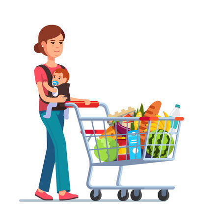 moms: Young mother with son baby toddler in a sling pushing supermarket shopping cart full of groceries. Flat style vector illustration isolated on white background.