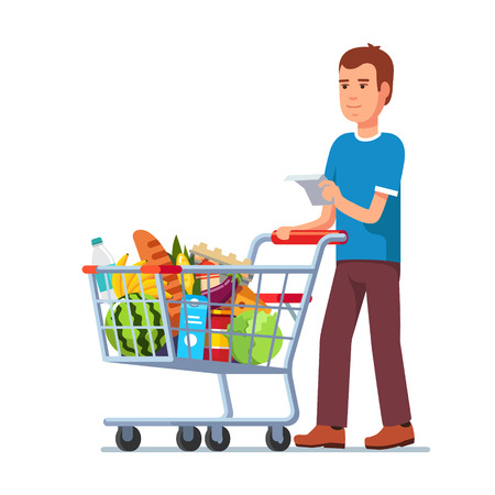 Young man wish shop list pushing supermarket shopping cart full of groceries. Flat style vector illustration isolated on white background.