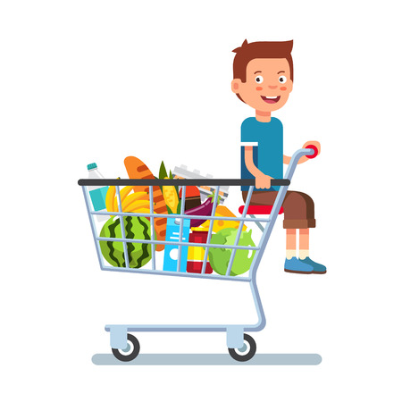 young family: Kid sitting in a supermarket shopping cart full of groceries. Flat style vector illustration isolated on white background.