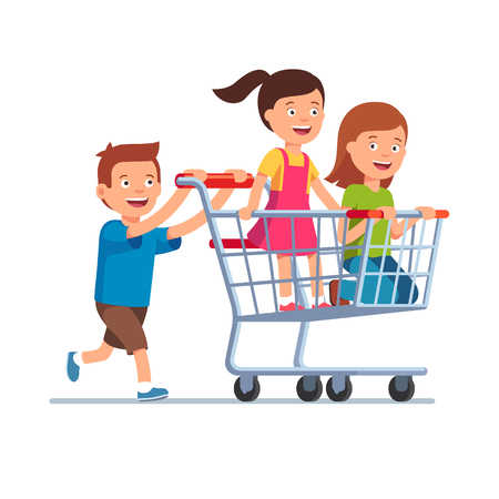 child girl: Boy and two girls playing together, riding supermarket shopping cart. Flat style vector illustration isolated on white background.