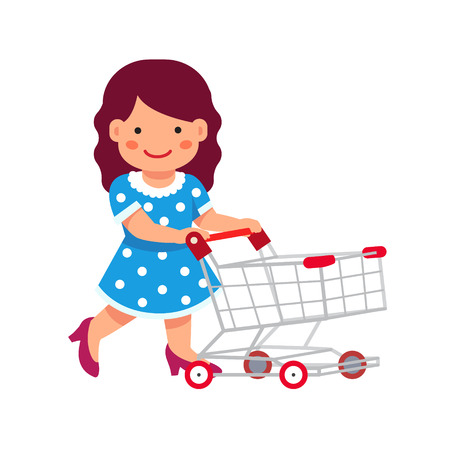 basketful: Cute girl dressed like a lady playing with supermarket shopping cart. Flat style vector illustration isolated on white background.