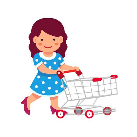 Schattig meisje gekleed als een dame spelen met supermarkt winkelwagen. Vlakke stijl vector illustratie geïsoleerd op een witte achtergrond.