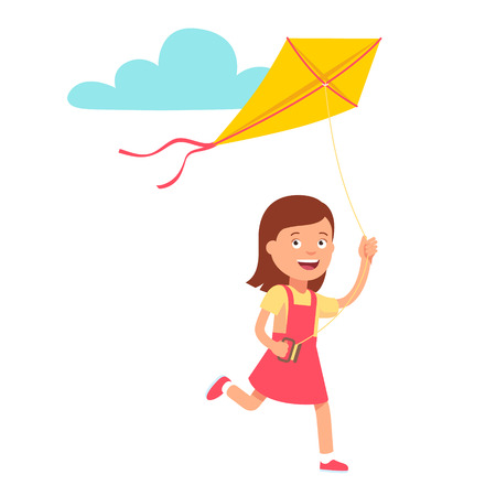 girl  child: Small cute girl running and playing kite. Flat style vector illustration isolated on white background.