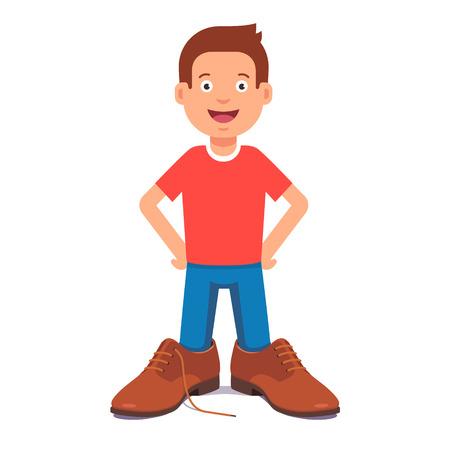 Kleine jongen dragen van een stropdas en vaders schoenen doen alsof hij is een zakenman. Vlakke stijl vector illustratie geïsoleerd op een witte achtergrond.