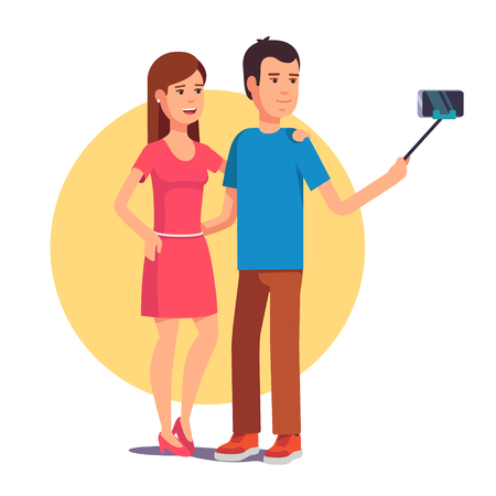 young couple: Attractive couple photographing themselves for a blog using mobile smart phone on selfie stick. Flat style vector illustration isolated on white background.
