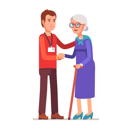 old lady: Young man with badge helping an old lady. Elder people care and nursing. Flat style vector illustration isolated on white background.