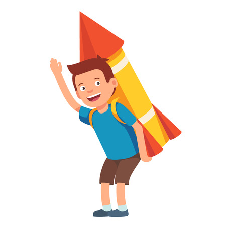 rocket man: Boy playing with cardboard space rocket. Imagination of a a leader flies high. Flat style vector illustration isolated on white background.