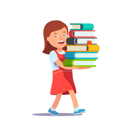 studious: Cute school girl carrying big pile of books. Education excitement concept. Flat style vector illustration isolated on white background.