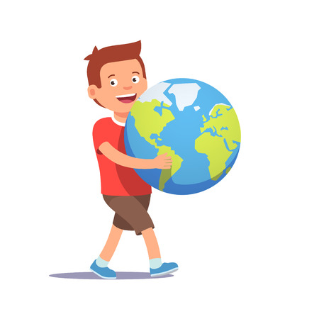 bring up: Young boy kid carrying holding planet earth. Youth holding future in their hands concept symbol. Flat style vector illustration isolated on white background.
