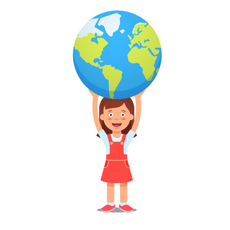 humanism: Cute girl holds planet earth over head. Youth holding future in their hands concept symbol. Flat style vector illustration isolated on white background.