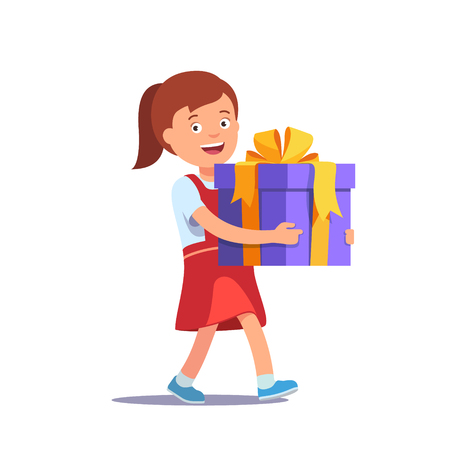big boxes: Cute girl holding big ribbon bow wrapped gift box in front of her in arms. Flat style vector illustration isolated on white background.