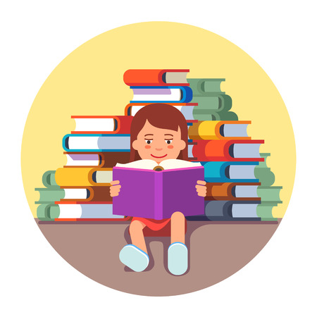 literatures: Cute girl sitting and reading a book in front of big pile of literature. Future genius kid concept. Flat style vector illustration isolated on white background.