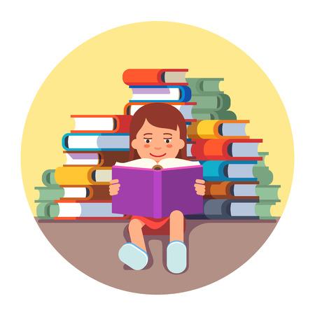literature: Linda chica sentada y leyendo un libro delante de la pila grande de la literatura. concepto de niño genio futuro. ilustración vectorial de estilo plano aislado en el fondo blanco.