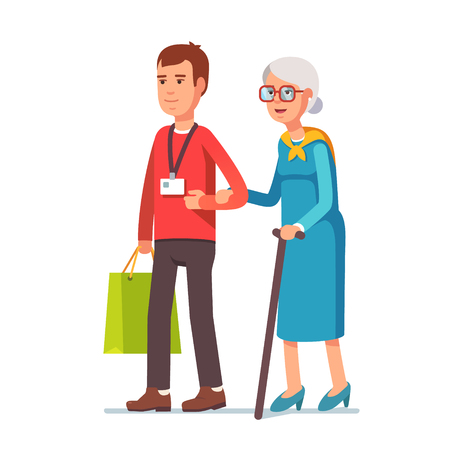 help: Young man social worker helping elder grey haired woman with grocery shopping. Strolling with old lady. Flat style vector illustration isolated on white background.