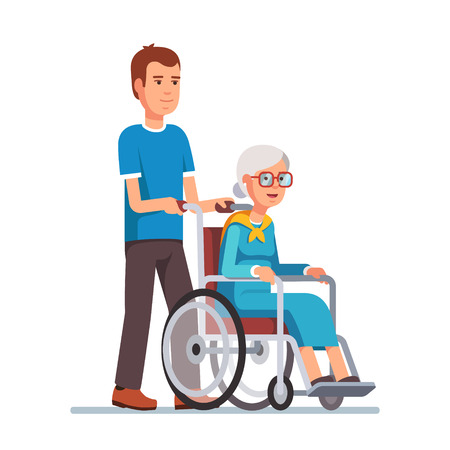 Young man strolling with his grandmother in wheelchair. Flat style vector illustration isolated on white background.
