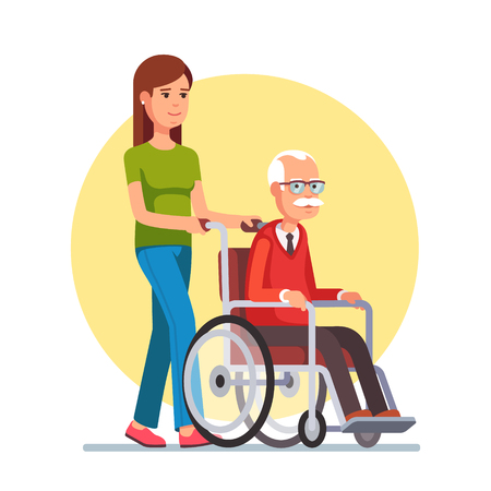 Young woman social worker strolling with elder grey haired man in wheelchair. Flat style vector illustration isolated on white background.