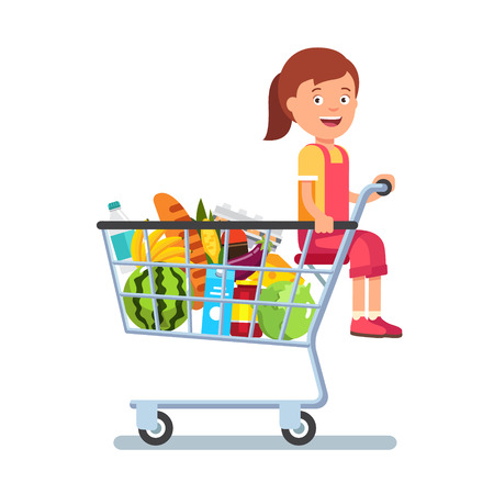 kid shopping: Kid sitting in a supermarket shopping cart full of groceries. Flat style vector illustration isolated on white background.