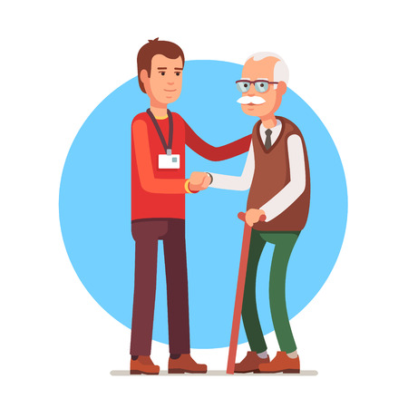 Young man social worker helping elder grey haired man standing with a cane. Flat style vector illustration isolated on white background.