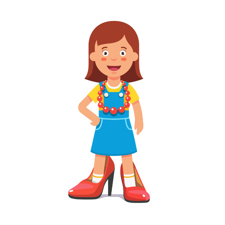 lady in red: Small cute girl wearing mothers high heel pump shoes and red beads pretending shes a grown up lady. Flat style vector illustration isolated on white background.