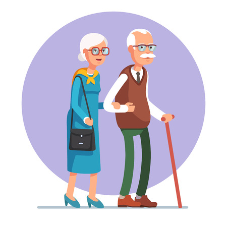 Senior lady and gentleman with silver hair walking together arm-in-arm. Old age couple. Flat style vector illustration isolated on white background. Иллюстрация