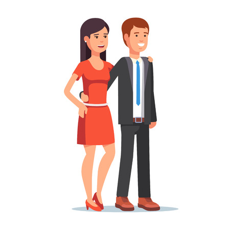 black haired: Smiling beautiful couple. Young woman and man standing together embracing. Flat style vector illustration isolated on white background. Illustration