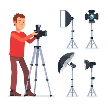 equipment: Professional photographer with camera on a tripod and photo studio lighting equipment. Flat style vector illustration isolated on white background.