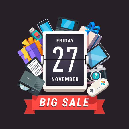 Consumer electronics store sale advert. Black Friday 27 November banner. Flat style vector illustration isolated on black background. Illustration