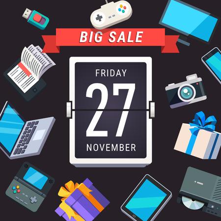 electronics store: Consumer electronics store sale advert. Black Friday 27 November banner. Flat style vector illustration isolated on black background. Illustration