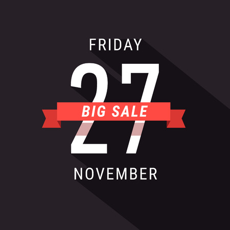 advert: Black Friday 27 November Sale advert banner. Flat style vector illustration isolated on black background. Illustration