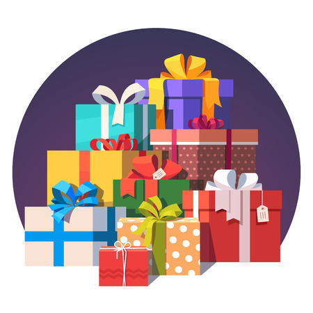gift ribbon: Big pile of colorful wrapped gift boxes. Lots of presents. Flat style vector illustration isolated on white background.