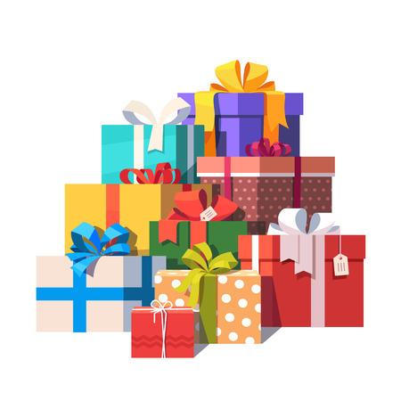 화려한 포장 된 선물 상자의 큰 더미. 선물을 많이합니다. 플랫 스타일 벡터 일러스트 레이 션 흰색 배경에 고립입니다.