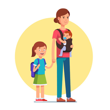 Mother with schooler daughter and infant baby son in sling. Single parent concept. Flat style vector illustration isolated on white background.