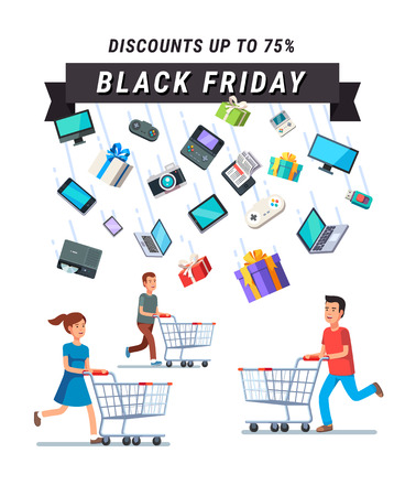 advert: Black Friday Sale advert banner. People running with shopping carts under the rain of retail goods. Flat style vector illustration isolated on black background.