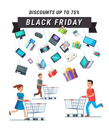 Black Friday Sale advertentie banner. Mensen lopen met winkelwagentjes in de regen van de retail goederen. Vlakke stijl illustratie geïsoleerd op een zwarte achtergrond.