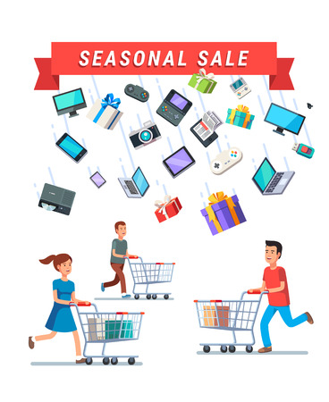 advert: Seasonal Sale advert banner. People running with shopping carts under the rain of retail goods. Flat style vector illustration isolated on black background. Illustration
