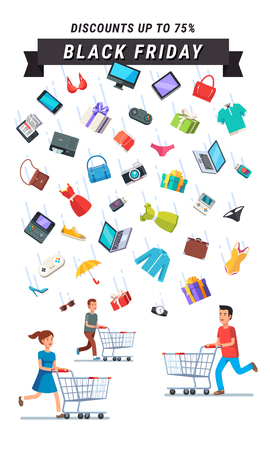 shoppers: Black Friday Sale advert banner. People running with shopping carts under the rain of retail goods. Flat style vector illustration isolated on black background.