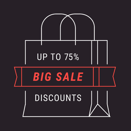 advertisements: Black big sale advert banner in form of shopping bag. Flat style vector illustration isolated on black background.