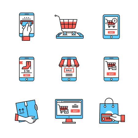 sunblind: Online business. Mobile store and shopping business metaphors. Flat style icons. Thin line art illustrations isolated on white.