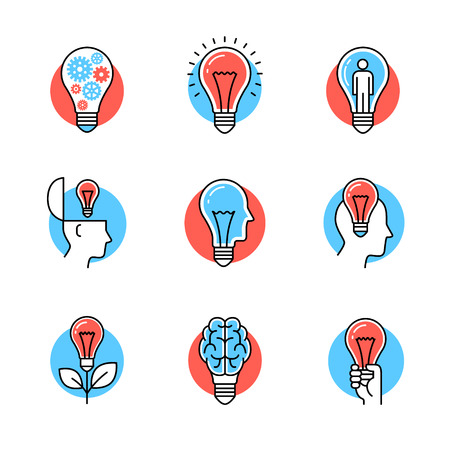 metaphors: Collection of creative idea light bulb metaphors. Flat style icons. Thin line art illustrations isolated on white.