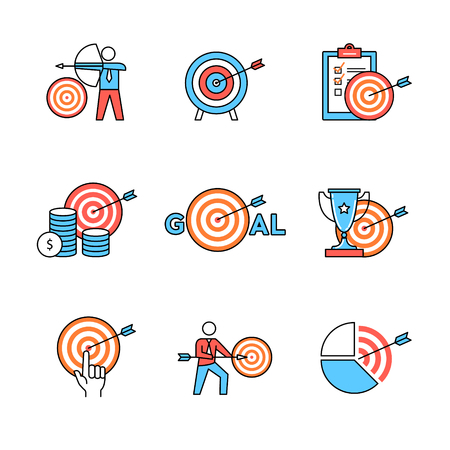 achieving: Set of business metaphors. Business men people aiming, achieving targets and goals. Flat style icons. Thin line art illustrations isolated on white.