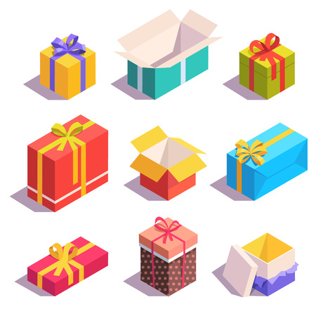 gift ribbon: Bright, colorful present and gift boxes with ribbon bows. Flat isometric illustration on white background.