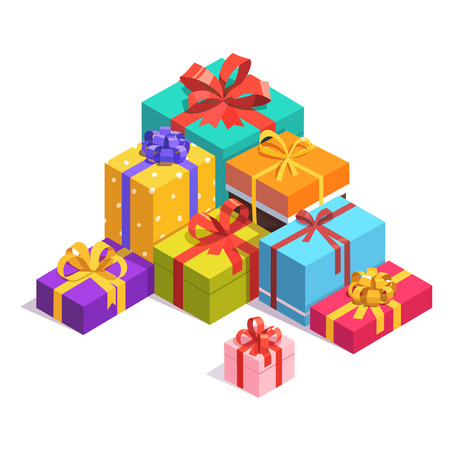 presents: Pile of bright, colorful present and gift boxes with ribbon bows. Flat isometric illustration on white background.