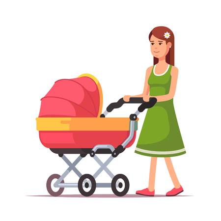old fashioned: Young woman walking with her newborn child in an old fashioned bright pink pram. Baby carriage modern flat style vector illustration isolated on white background.