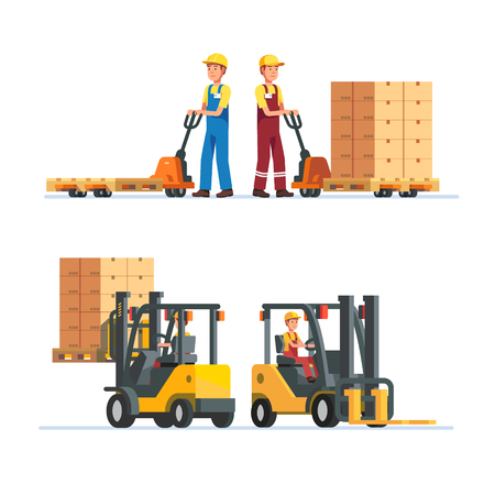 fulfilment: Warehouse workers working with forklifts and hand lifts. Loading and unloading goods cardboard boxes on pallets. Modern flat style vector illustration isolated on white background.